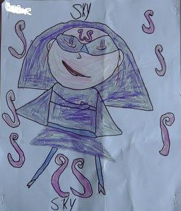 Picture of Sky, a superhero created by my daughter.