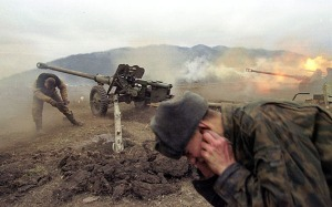 Russian Artillery pound Ukrainian forces.