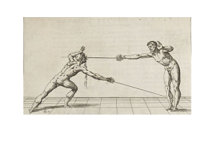 Perfect example of a thrust, this time to the face, using the reach of the rapier and quick footwork to gain distance whilst killing the opponent.