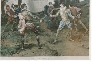 The duel des Mignons was fought in Paris, 27 April, 1578. This painting was done by Cesare-Auguste Detti in around 1847.