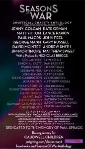 A not entirely full list of authors for Dr. Who War Doctor anthology - Seasons of War.